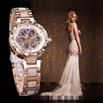 TurnFinger Hollow reloj mecánico de las mujeres tendencia de moda clásica Casual hermosa gama alta de lujo de calidad personalidad diamante