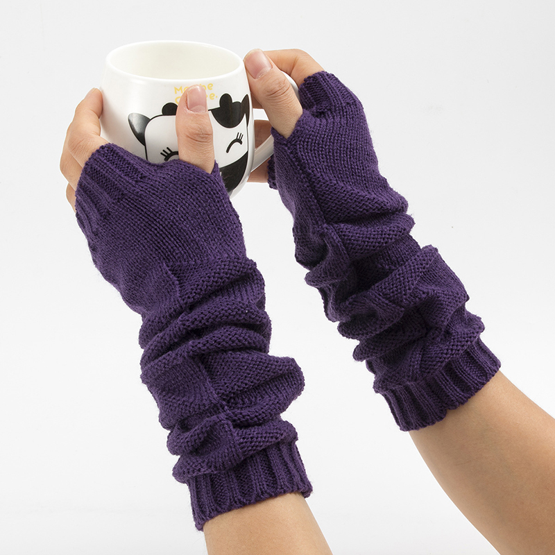 2019 New Wool Half Finger Gloves For Men Women Knitted Warm Fingerless Long Knit Mittens Guantes Arm Warmers Lady Female Gloves