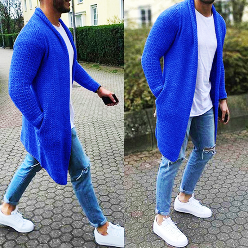 Men's Wool Cardigan Spring Autumn Warm Thick Solid spacious Pocket Fashion Long Sweaters Knitted Cotton Casual Male Jackets(China)