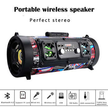 20W Big Power Bluetooth Speaker Wireless Stereo Subwoofer Heavy Bass Speakers Music Player Support FM Radio TF Mic Move LCD KTV