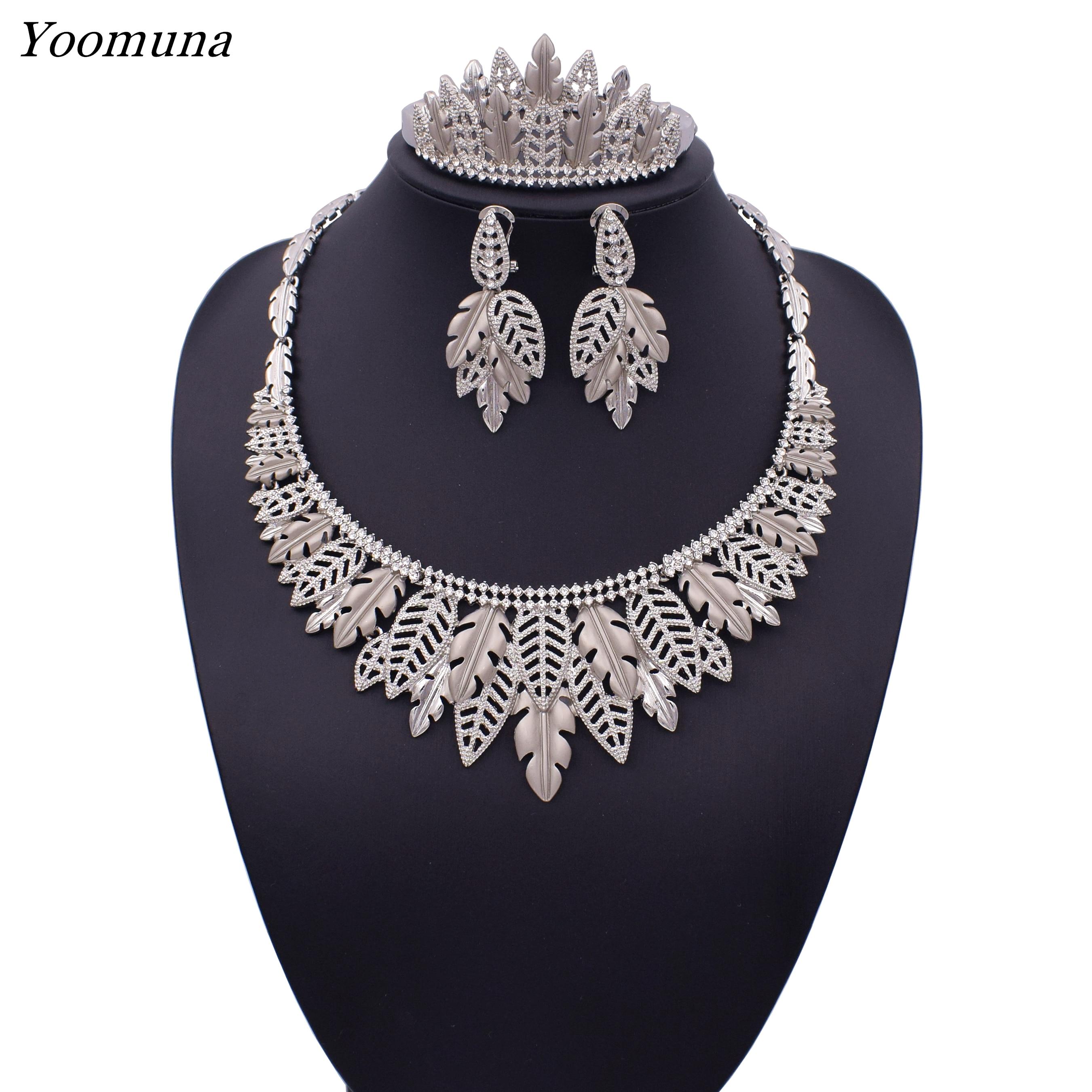 2019 Luxury dubai Wedding Bridal Jewelry Sets for Women african elegant classics leaf Crystal jewelry women party gifts