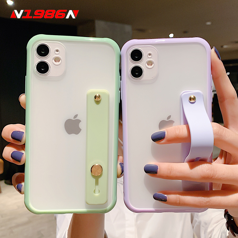 N1986N Candy Color Phone Case For iPhone SE 2020 11 Pro X XR XS Max 6 6s 7 8 Plus Fashion Wristband Design Shockproof Hard Case