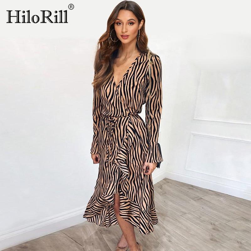 2019 Women Autumn Chiffon Dress Long Sleeve Zebra Striped Print Dress Ruffles Casual A-Line Midi Vintage Party Dresses Vestidos