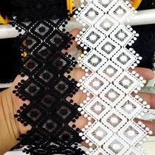 Pom pom bordado laço fita 75 mm de largura preto branco oco para fora diy tecido de costura de casamento laço para vestido decoração de roupas