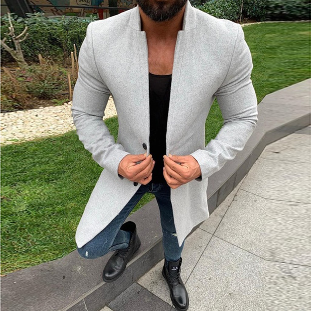 JAYCOSIN Men's Blend Thin Coat Spring Autumn New Trench Coat Casual Outwear Button Smart Overcoat Long Coats Male Brand Clothes