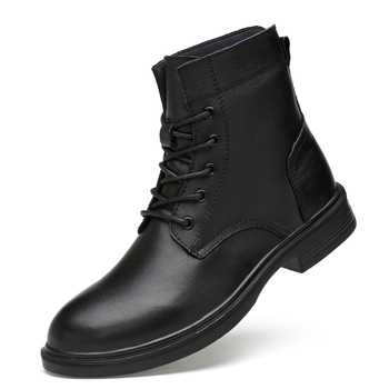 large size mens casual high top boots cow leather shoes autumn winter ankle snow boot black warm cotton-padded shoe zapatos bota