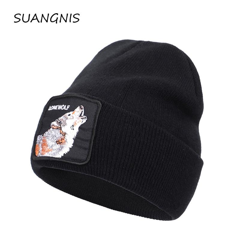 2019 New Animal embroidery Beanie Men Warm Knitted Winter Hats For Women Gorra Hip hop Skullies Bonnet Unisex Cap