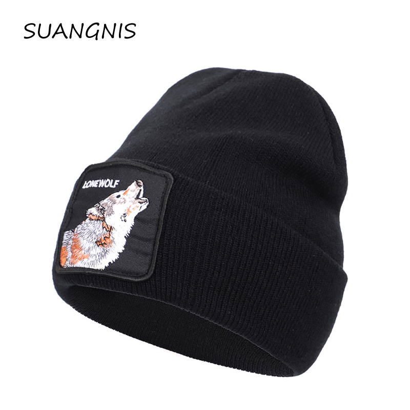 2019 New Animal  Embroidery Beanie Men Warm Knitted Winter Hats For Women Gorra Hip Hop Skullies Bonnet Unisex Cap