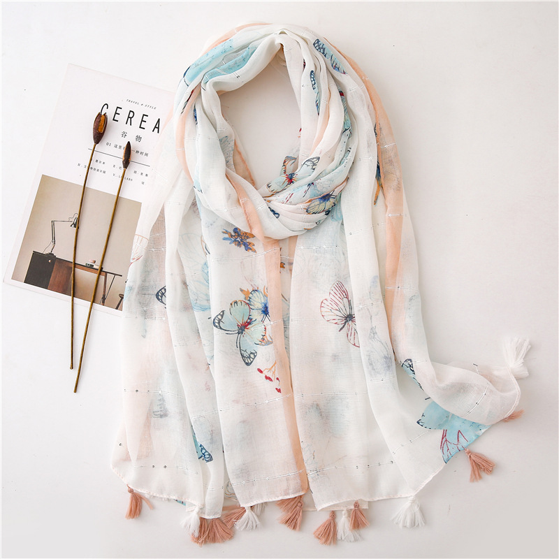 Women Kids Lovely Animal Butterfly Pattern Viscose Shawl Scarf High Quality Hijabs And Wraps Pashmina Stole Muslim Caps 180*90Cm