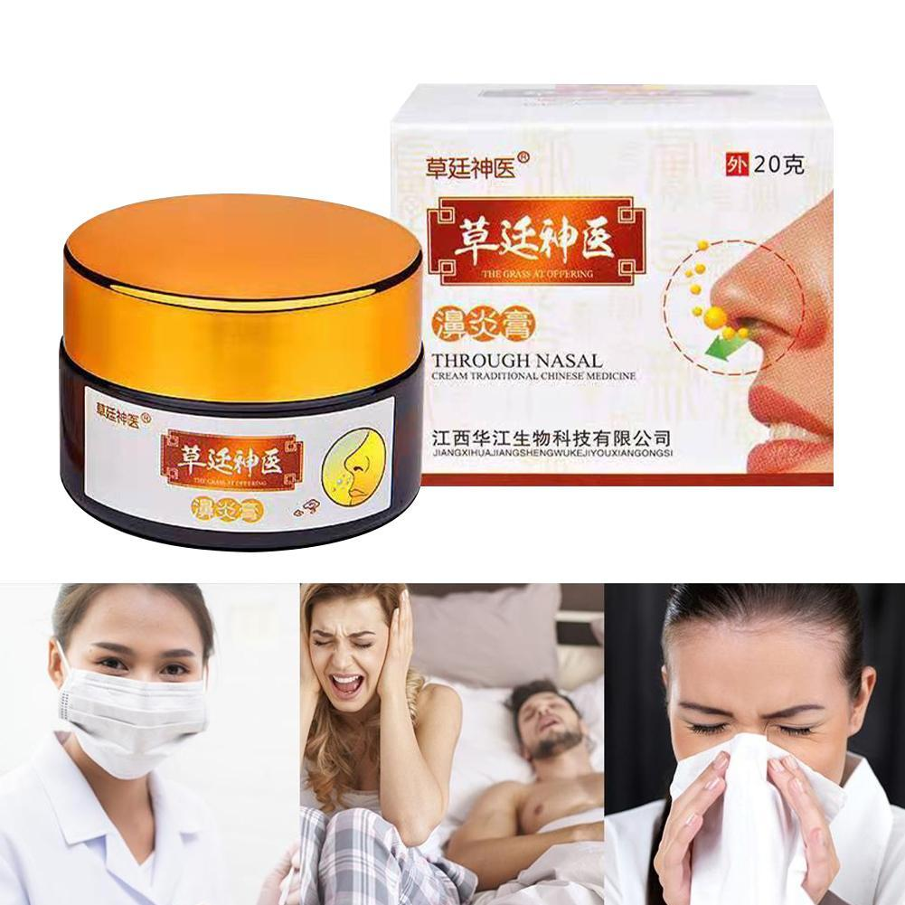 Effective Rhinitis Sinusitis Cream Relieve Itching Medicine 20g Nose Sneezing Rhinitis Runny Nasal Congestion Plaster W1G3 image