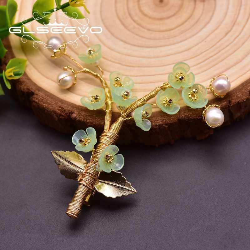 GLSEEVO ธรรมชาติเรซินมุกดอกไม้ Handmade เข็มกลัดสำหรับผู้หญิงสวยงามเข็มกลัด Broche Femme Bijoux เครื่องประดับ GO0336