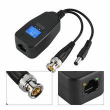 1 par (2 pces) Dc-8mhz passivo cctv coaxial bnc vídeo power balun transceptor para conector rj45