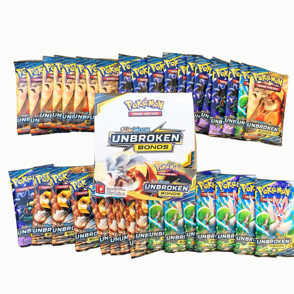 324 Cards Pokemon TCG: Sun & Moon UNBROKEN BONDS 36-Pack Booster Box Trading Card Game Kids Collection Toys