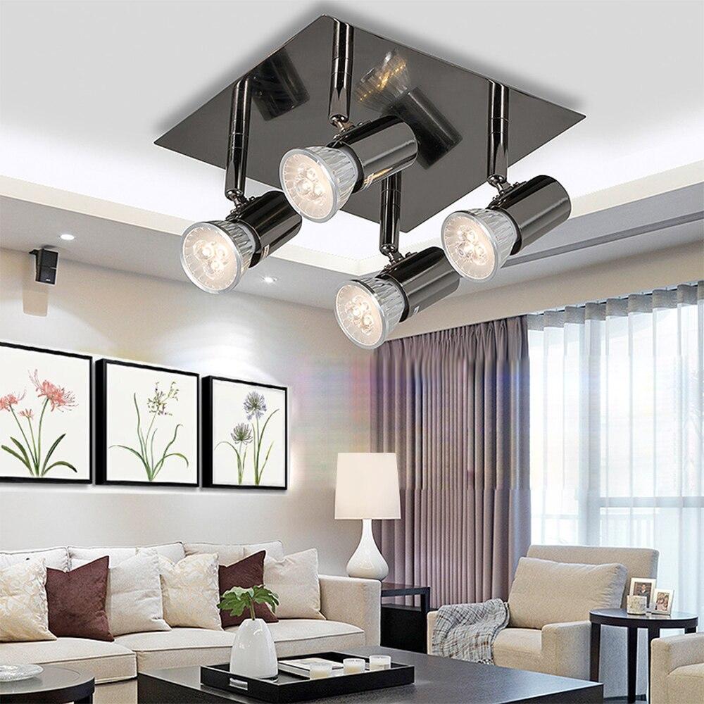 AC85-240V Modern LED Spotlight 360°Adjustable Rotatable LED Ceiling Light 12W Aluminum Square 4 Way LED Spotlight With GU10 Bulb