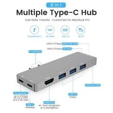 Thunderbolt-3 type-C концентратор 8 в 1 кард-ридер USB3.1 зарядное устройство адаптер 4K HDMI для MacBook Pro ///Macbook Air 18