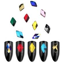 цена на 20Pcs Crystal nails Glitter Rhinestones Glass Flat Back 3D Diamond 6X10mm Paillette Nail Art Decorations accessories