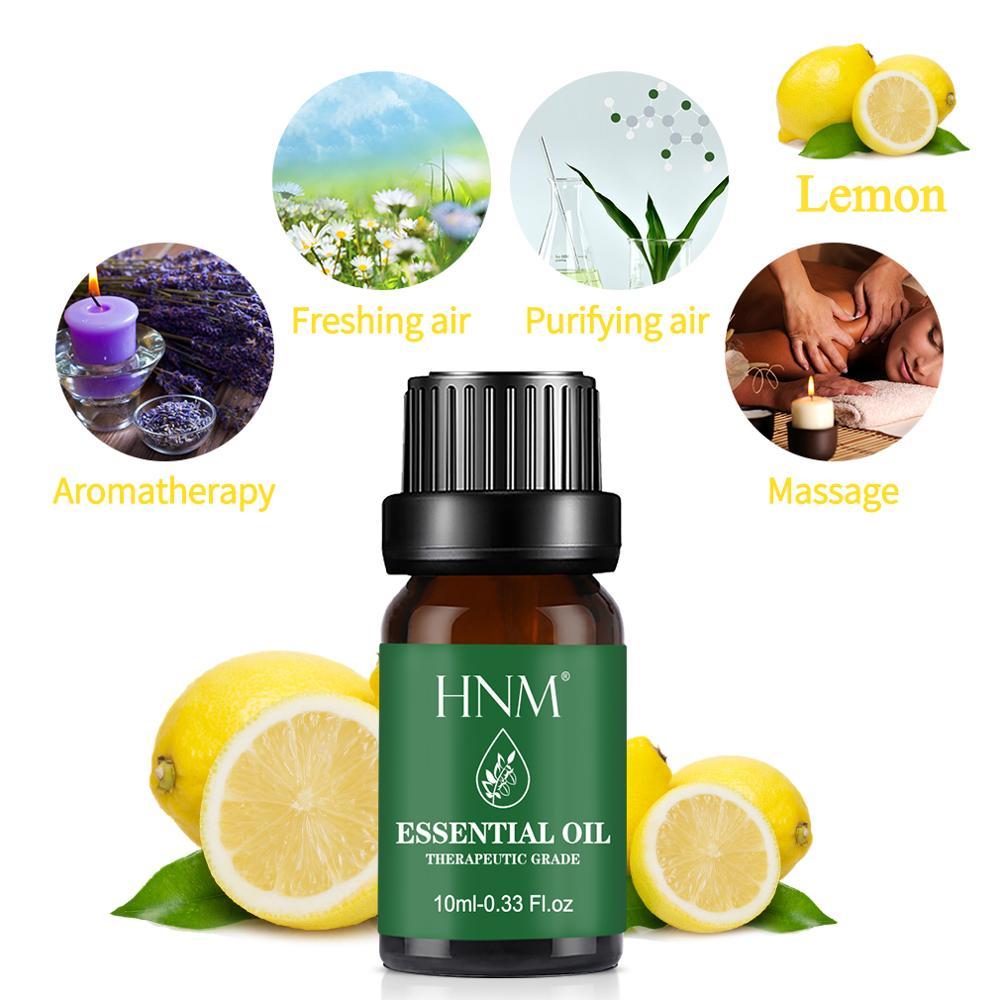 HNM 10ML Pure Essential Oil Massage Humidifier Orange Rose Tea Tree Peppermint Eucalyptus Lemongrass Lavender Ginger Aroma
