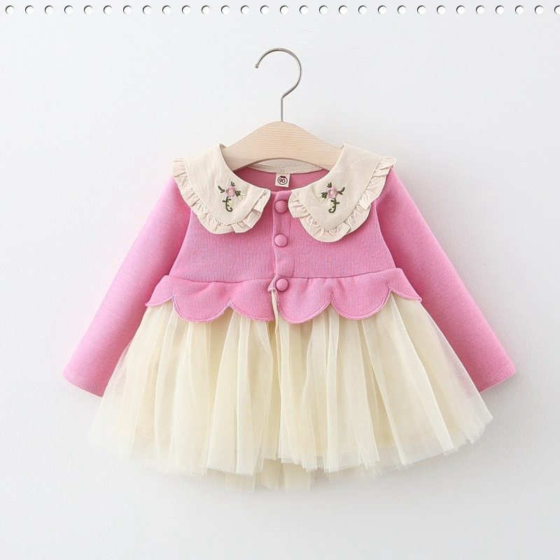 Dresses Princess-Dress Spring Sweet Embroidery Long-Sleeve Girls Baby Infants Mesh Patchwork title=