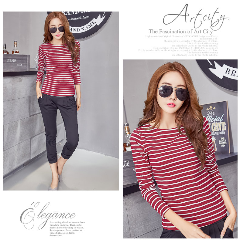 H8c009678075f42a9b36e864bf33a1ad3V - Soperwillton Cotton T-shirt Women New Autumn Long Sleeve O-Neck Striped Female T-Shirt White Casual Basic Classic Tops #620