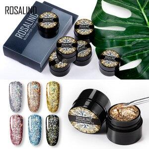 Набор алмазных гель-лаков ROSALIND, набор платиновых лаков, гибридный штамп, акриловый набор для ногтей, все для маникюра, Гель-лак для ногтей, 6 ш...