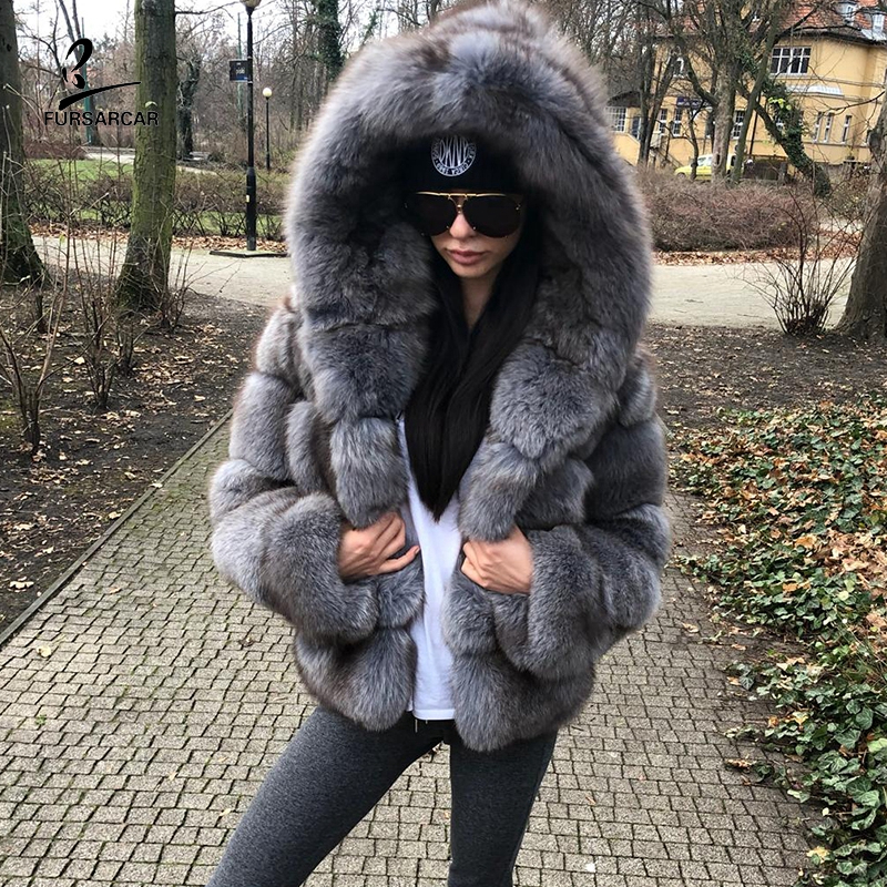 FURSARCAR Grey Blue Box Fur Winter Jackets And Coats Women With Hooded Fashion Luxury Genuine Natural Fur Female Outerwear Cloth