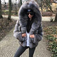 FURSARCAR Grey caja azul de piel de invierno chaquetas y abrigos chaquetas y cazadoras de las mujeres con capucha de moda de lujo Natural genuino de piel ropa femenina de tela