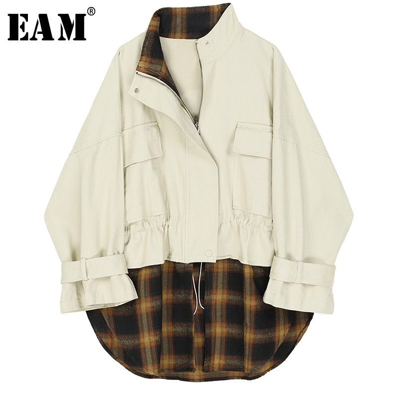 [EAM] Loose Fit Black Plaid Split Joint Big Size Jacket New Stand Collar Long Sleeve Women Coat Fashion Tide Spring 2020 1R716