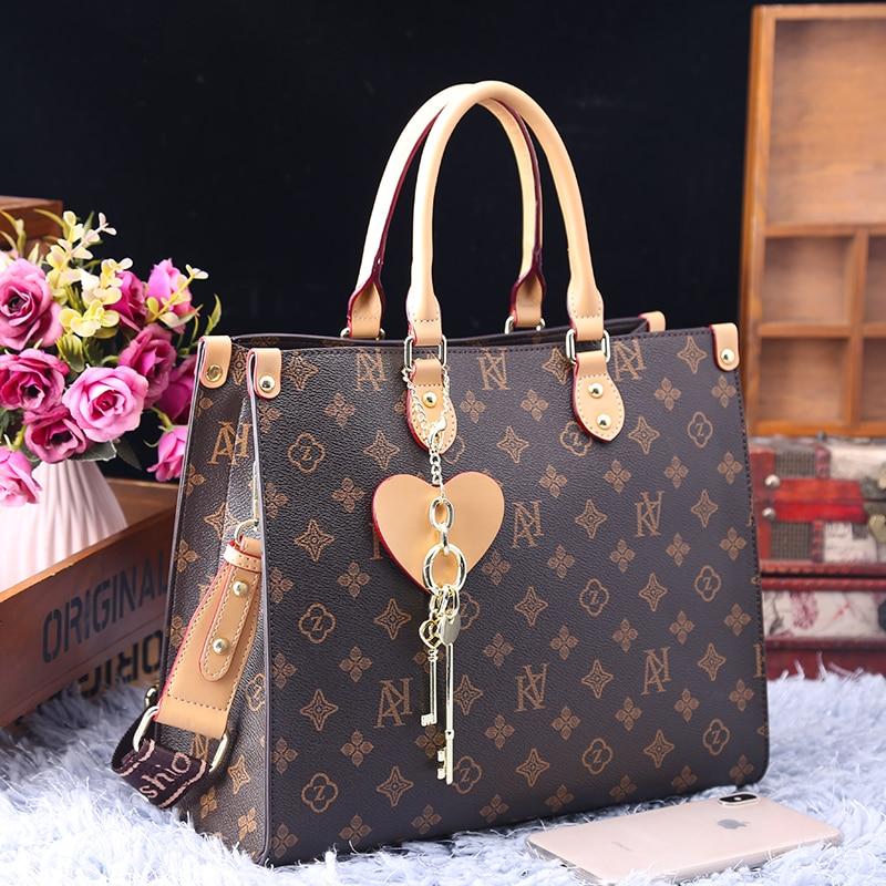Женская сумка, новинка осень-зима 2021, модная кожаная вместительная Повседневная Сумка-тоут, высококачественный Женский кошелек и сумка