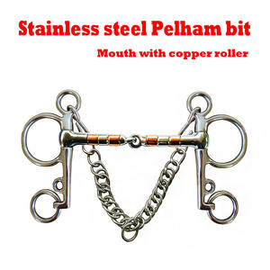 Horse-Bit Rusted.horse Riding Pelham with SS Copper-Rollers Never Product. Product.