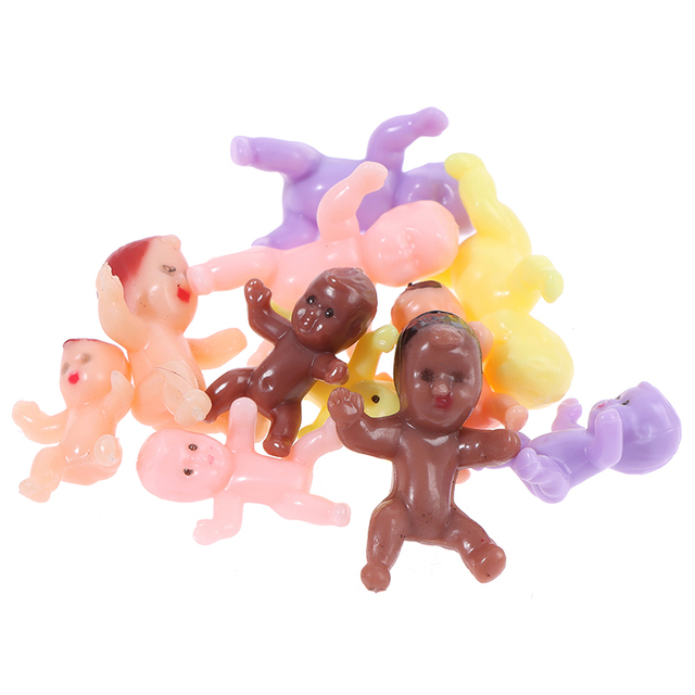 Kids Small Toy Accessories 10 PCS Cute Baby Shower Mini Doll Plastic Child Full Moon Gifts Boys Girls Party Supplies 6