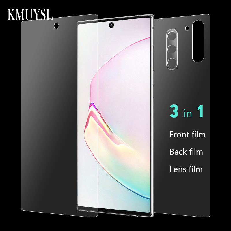 Note10 Plus Camera Glass & Front & Back 9D Hydrogel Film For Samsung Galaxy Note 10 Note10 Pro Full Cover Screen Protector Film