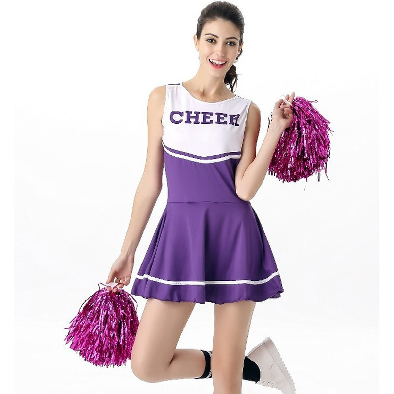 Ladies Cheerleading Suits Adult Lady Sexy Baby Shape Cheerleader Costume Cheerleading Uniforms With Pom Poms