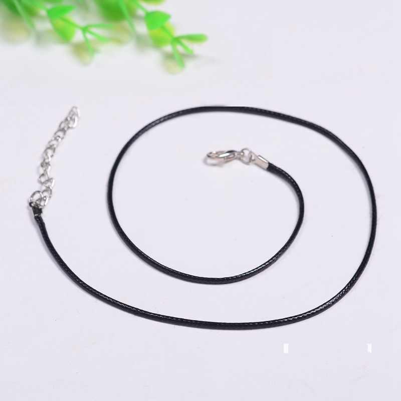 Colar de corda de couro de fio de cera ultra-forte corrente preto e branco com padrão pingente de corda pingente de tecelagem cordão pingente de jade