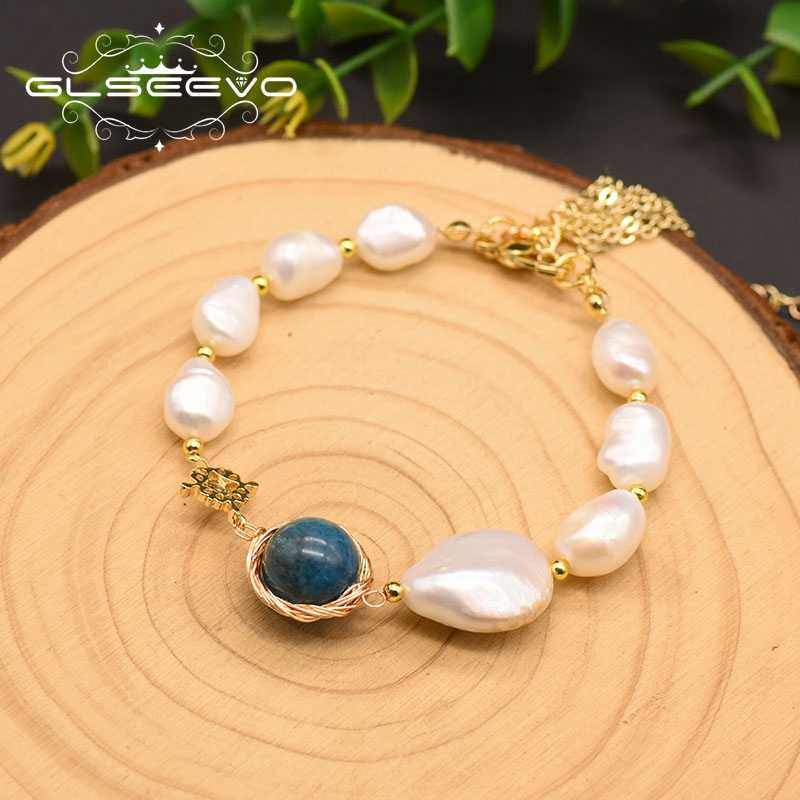 GLSEEVO Natural Fresh Water Baroque Pearl Glaze Adjustable Bracelet For Women Gift Fine Jewellery Pulseira Feminina GB0066
