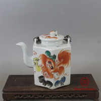 Qing Tongzhi Multicolored Lion Pacific Six party Teapot All Hand painted Antique Vase Decoration Porcelain Collection Home Decor