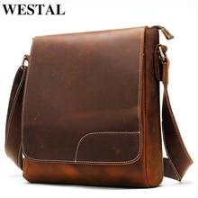WESTAL Crazy Horse Leather Bag Men's Genuine Leathe