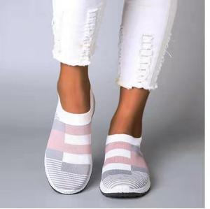 Image 4 - Fujin 2020 Flats Vrouwen Lente Mode Casual Schoenen Lente Schoenen Sneakers Vrouwen Platte Schoenen Slip Op Ademend Knit Stretch Flats