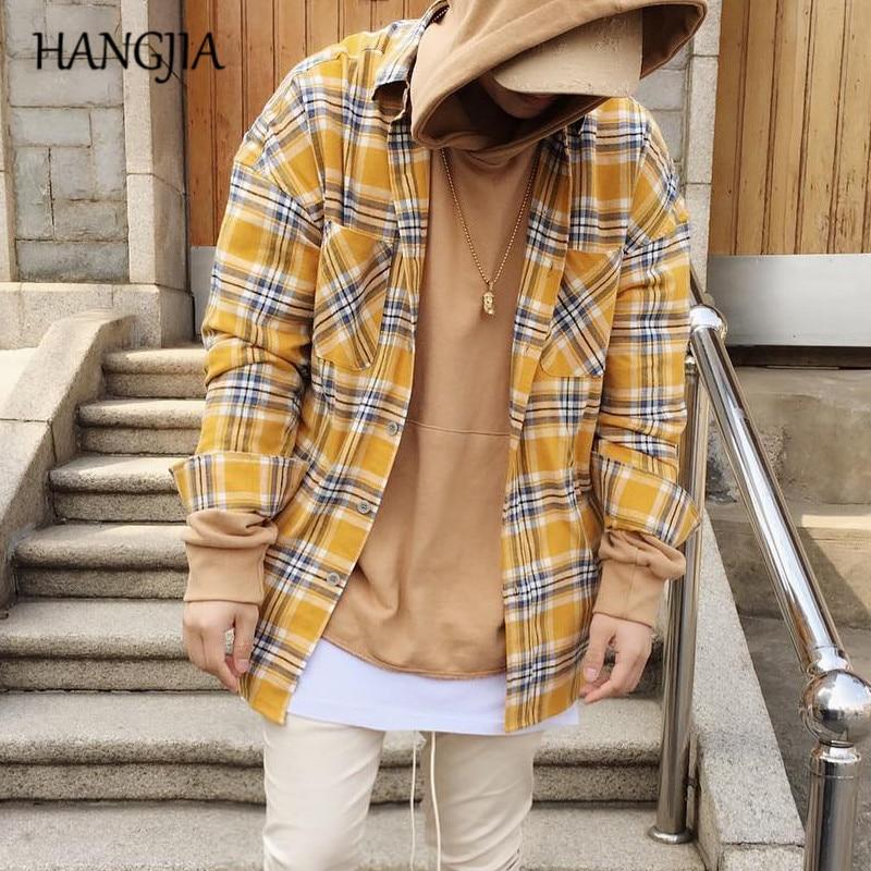 Swag Oversize Tartan Shirts Mens Vintage Hip Hop Yellow Plaid Shirt Urban Streetwear Irregular Hem Long Sleeve Clothing