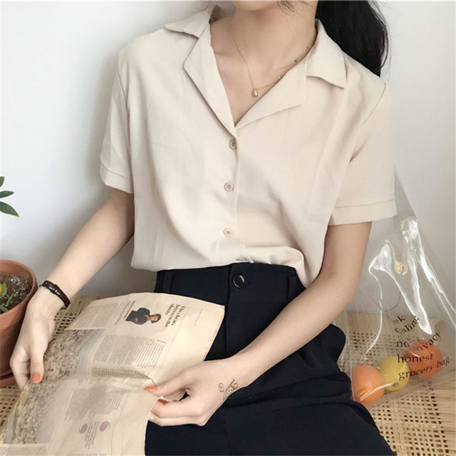 2020 Summer Blouse Shirt For Women Fashion Short Sleeve V Neck Casual Office Lady White Shirts Tops Japan Korean Style #35 3