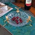 Хрустальное стекло Фруктовая тарелка европейская роскошная медная гостиная высококачественный журнальный столик бар фруктовый поднос ук...