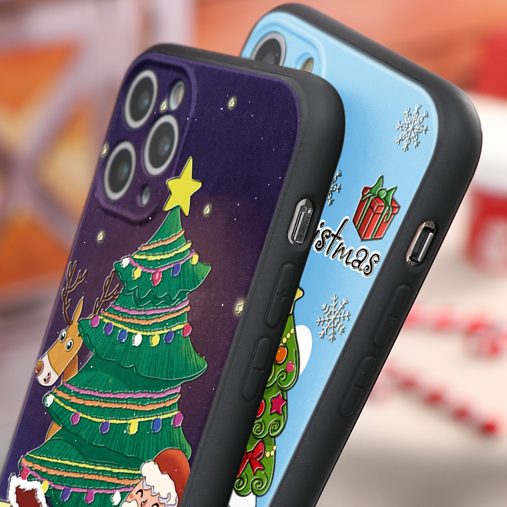 3D Relief Emboss Christmas Cartoon Phone Case For iPhone 12 Mini