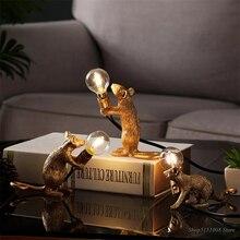 Lámpara de mesa para ratón de animales de resina nórdica, Mini ratón pequeño, accesorios de iluminación LED para Escritorio de decoración del hogar, luminaria artesanal