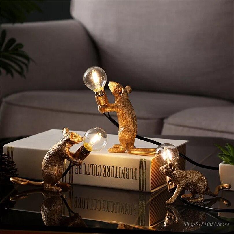 Nordic เรซิ่นสัตว์หนูเมาส์ตารางโคมไฟขนาดเล็ก MINI เมาส์น่ารัก LED Home Decor โต๊ะโคมไฟโคมไฟโคมไฟหัตถกรรม ...