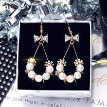 Pearl Bow Earrings Women South Korea East Gate Zircon water drop ins Girl Heart Crystal tassel