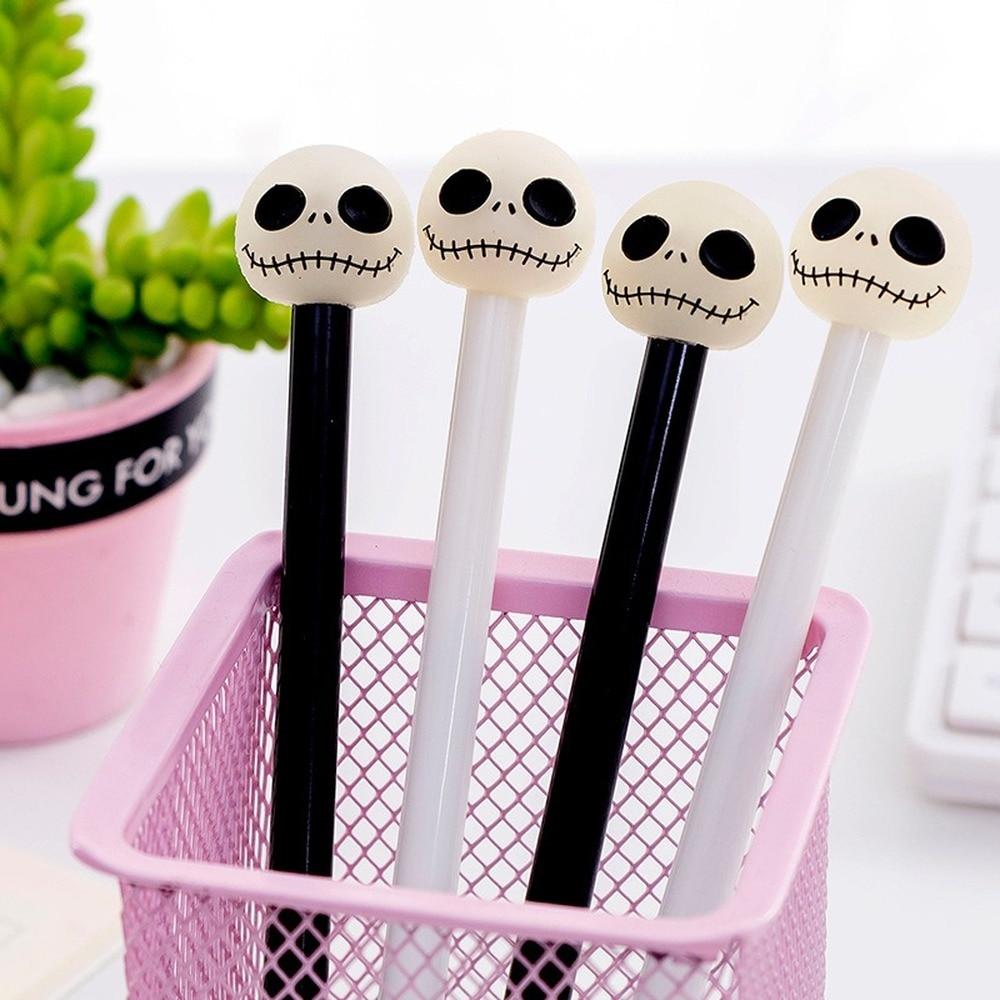 1pc Wholesale Creative Personality Skull Pen 0.5 Black Students Pen Wholesale Custom Stationery School Student Skull Pens