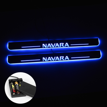 LED Door Sill For Nissan Navara NP300 2015 - 2018 Streamed Light Scuff Plate Acrylic Battery Car Door Sill Accessories image