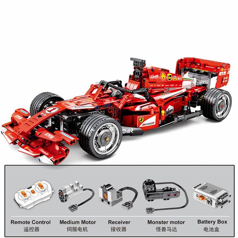 RC تكنيك DIY MOC 2.4GHz الحصري سباق الجائزة الكبرى المتسابق F1 صيغة سباق سيارة اللبنات نموذج الطوب الكلاسيكية الاطفال لعب هدية-في حواجز من الألعاب والهوايات على  مجموعة 1