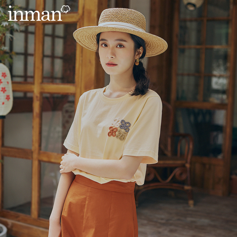 INMAN 2021 Spring New Arrival Literary Dimple Series Pure Cotton Splicing Flower Short Sleeve Loose T-shirt