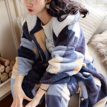 Coral velvet Pajama women's autumn and winter plush and thickened loose winter and spring and autumn household clothing set