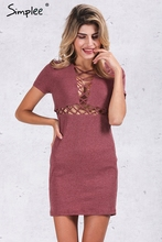 Simplee Autumn winter knitted lace up dress women Sexy red bodycon dress vestidos Elegant party short
